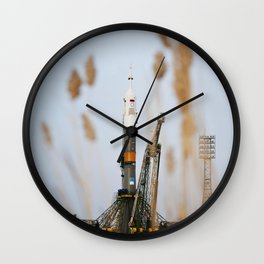 The Soyuz TMA-20 spacecraft is seen shortly after arrival to the launch pad Monday Dec 13 2010 at th Wall Clock