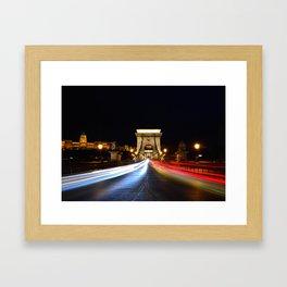 Chain bridge over Danube river, Budapest city, Hungary. Framed Art Print