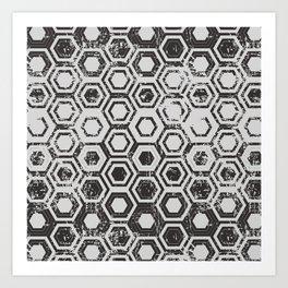 Worn hexagons Art Print