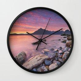 I - Spectacular sunset at the Elgol beach, Isle of Skye, Scotland Wall Clock