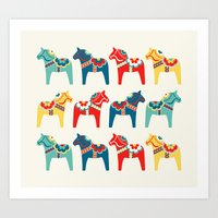 swedish Art Prints featuring Swedish Horses by Running River Design