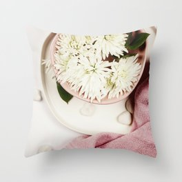 Spa setting with floating flowers Throw Pillow