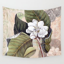 Vintage White Magnolia  Wall Tapestry