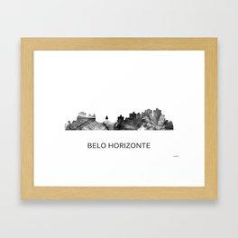Belo Horizonte, Brazil skyline WB BW Framed Art Print