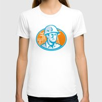 engineer T-shirts featuring Construction Worker Engineer Pylons Retro by retrovectors