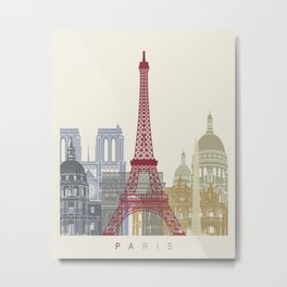 Paris skyline poster Metal Print