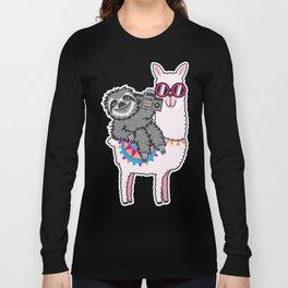 Sloth Llama Music Long Sleeve T-shirt
