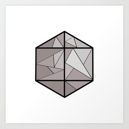 Graphic . 3 geometric shape gray Art Print
