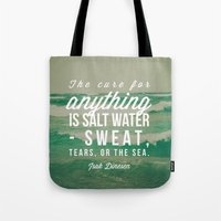 the cure Tote Bags featuring Salt Water Cure by Olivia Joy StClaire