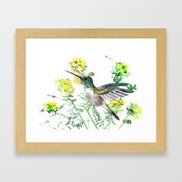 mmingbird design green yew Hummingbird and Yellow Flowers Framed Art Print
