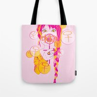 feminism Tote Bags featuring Feminism by Something Quiet