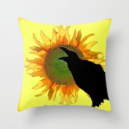 BLACK CROW-RAVEN YELLOW SUNFLOWER FLORAL ART Throw Pillow