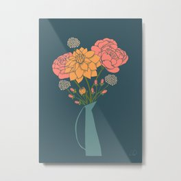 Bouquet of Flowers on Blue Metal Print