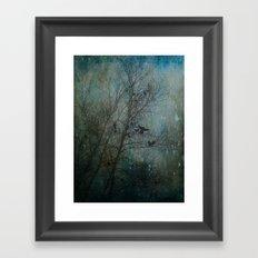 Blackbird Convention on a Snowy Day Framed Art Print