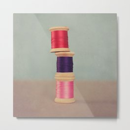 Thread Stack Metal Print