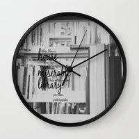 jane austen Wall Clocks featuring Jane Austen Library by KimberosePhotography