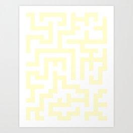 White and Cream Yellow Labyrinth Art Print