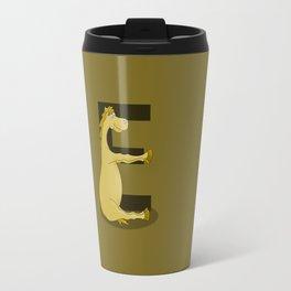 Pony Monogram Letter E Travel Mug