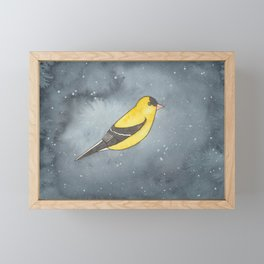 American Goldfinch - Solar Plexus Chakra - Watercolor Painting Framed Mini Art Print