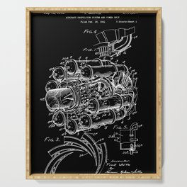 Jet Engine: Frank Whittle Turbojet Engine Patent - White on Black Serving Tray