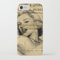 newspaper iPhone & iPod Cases featuring Marilyn newspaper by Teo Designs