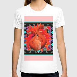 PINK ART DECO FLAMINGO  RED FLOWERS BLACK ART T-shirt