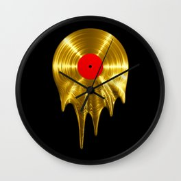 Melting vinyl GOLD / 3D render of gold vinyl record melting Wall Clock