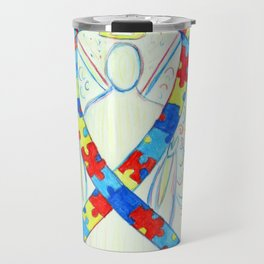 Autism Puzzle Piece Awareness Ribbon Angel Art Painting Travel Mug