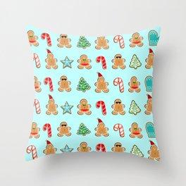 Naughty or Nice Gingerbread Throw Pillow