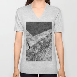 Combined abstract pattern in black and white . Unisex V-Neck