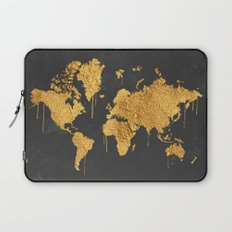Gold World Map Laptop Sleeve
