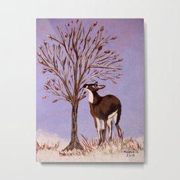 Deer by the tree Metal Print