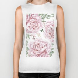 Beautiful Pink Roses Garden Biker Tank