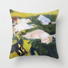 Joaquín Sorolla y Bastida La Siesta Throw Pillow