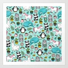 Narwhal and Friends, Emoji Tween Print, Pre-teen Girls, Unicorns, Panda, Llamas and Doughnuts Art Print