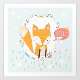 Hello, Fox Art Print