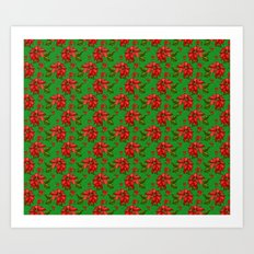 Red Poinsettia Plaid Art Print