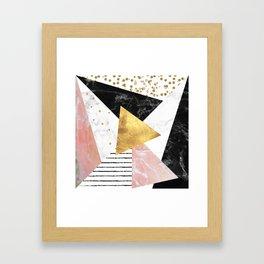 Elegant geometric marble and gold design Framed Art Print