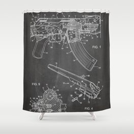 Ak-47 Rifle Patent - Ak-47 Firing Mechanism Art - Black Chalkboard Shower Curtain