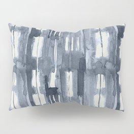 Simply Shibori Lines in Indigo Blue on Lunar Gray Pillow Sham
