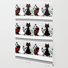 Black and White Cats on Sofa Christmas Wallpaper