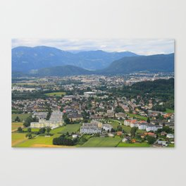 A beautiful colorful city in the mountains. Canvas Print