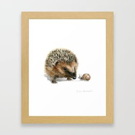 """""""Close Encounter"""" painting of a Hedgehog and Snail by Teresa Thompson Framed Art Print"""