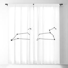Leo Star Sign Black & White Blackout Curtain