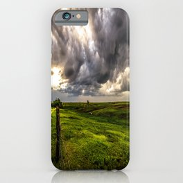 The Prairie - Golden Light Drenches Landscape After Storms in Nebraska iPhone Case