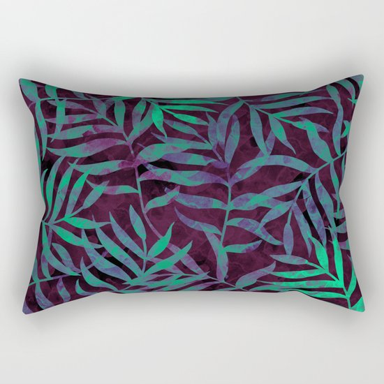 Watercolor Tropical Palm Leaves VII Rectangular Pillow