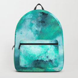 Abstract Art Pour - Green and Aqua Palette Backpack