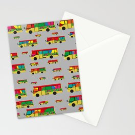 Grey Mini Bus Pattern Stationery Cards