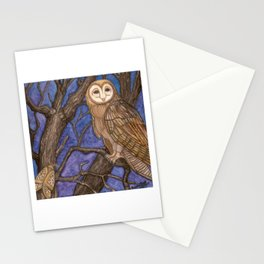 Owl and Moth on Tree, watercolor on canvas, 2009 Stationery Cards