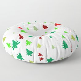 Small christmas pine trees of red and green colors on white background Floor Pillow